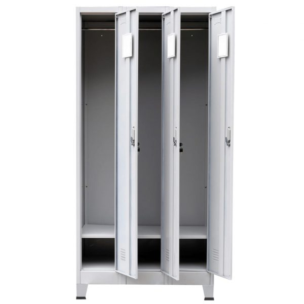 Locker Cabinet with 3 Compartments Steel 90x45x180 cm Grey