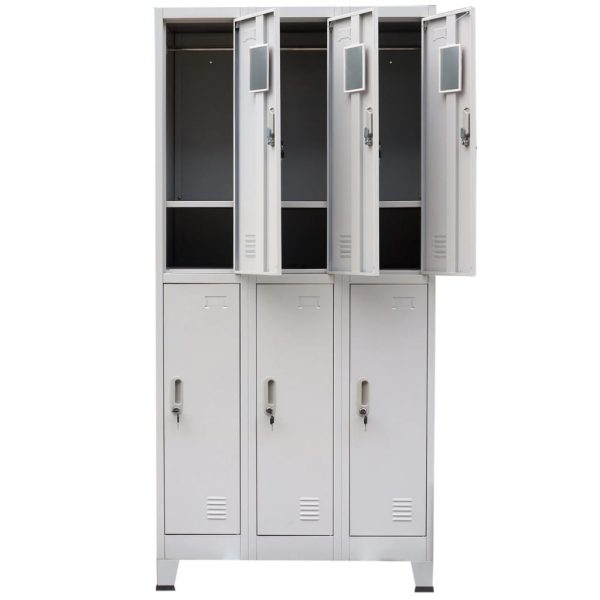 Locker Cabinet with 6 Compartments Steel 90x45x180 cm Grey