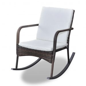 Outdoor Rocking Chair Brown Poly Rattan