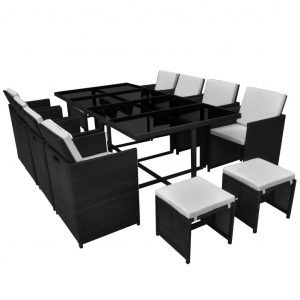 13 Piece Outdoor Dining Set with Cushions Poly Rattan Black