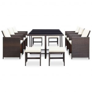 11 Piece Outdoor Dining Set with Cushions Poly Rattan Brown