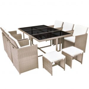 11 Piece Outdoor Dining Set with Cushions Poly Rattan Beige