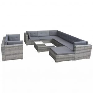 10 Piece Garden Lounge Set with Cushions Poly Rattan Grey