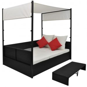 Garden Bed with Canopy Black 190×130 cm Poly Rattan