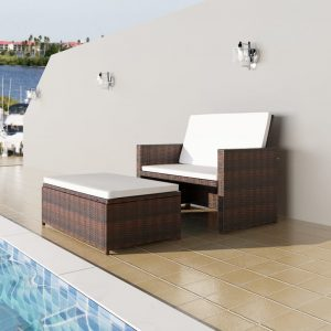 vidaXL Garden Sofa Poly Rattan Brown