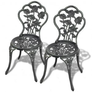 vidaXL Bistro Chairs 2 pcs Cast Aluminium Green