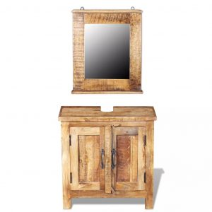 vidaXL Bathroom Vanity Cabinet with Mirror Solid Mango Wood