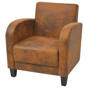 vidaXL Armchair Brown Faux Suede Leather