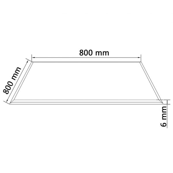 Table Top Tempered Glass Square 800×800 mm