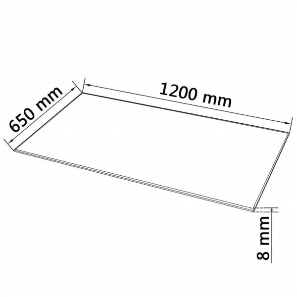 Table Top Tempered Glass Rectangular 1200×650 mm