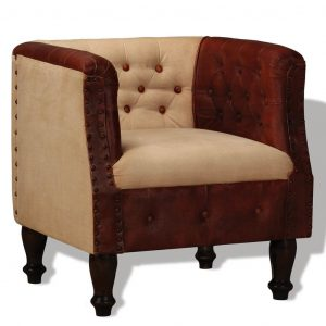 vidaXL Armchair Brown and Beige Real Leather and Fabric