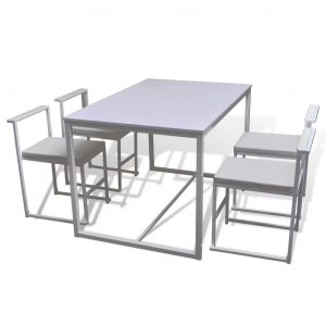 5 Piece Dining Table and Chair Set White