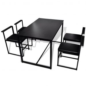 5 Piece Dining Table and Chair Set Black