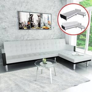 vidaXL L-shaped Sofa Bed Faux Leather White