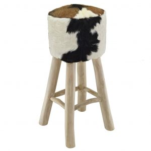 vidaXL Bar Stool Real Leather and Solid Teak Wood