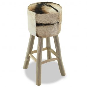 Bar Stool Real Leather and Solid Teak Wood