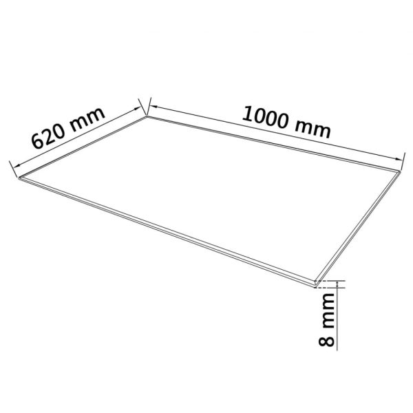 Table Top Tempered Glass Rectangular 1000×620 mm
