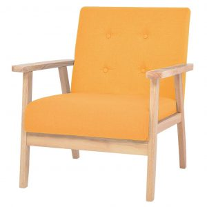 vidaXL Armchair Yellow Fabric
