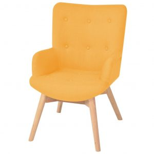 Armchair with Footstool Yellow Fabric