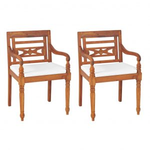 vidaXL Batavia Chairs 2 pcs with Cushions Solid Teak Wood