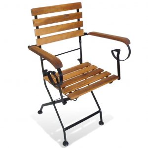 Folding Garden Chairs 2 pcs Steel and Solid Acacia Wood