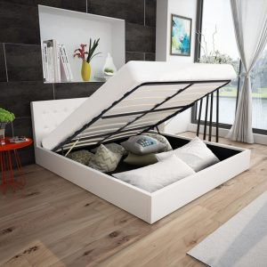 vidaXL Bed Frame White Faux Leather Queen Size