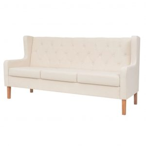 vidaXL 3-Seater Sofa Fabric Cream White