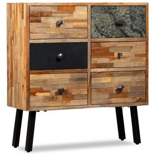 vidaXL Side Cabinet with 6 Drawers 70x30x76 cm Solid Reclaimed Teak