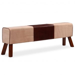 vidaXL Bench Genuine Leather and Canvas Beige and Brown 160x28x50 cm
