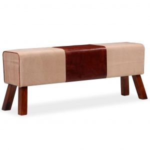 vidaXL Bench Genuine Leather and Canvas Beige and Brown 120x30x45 cm