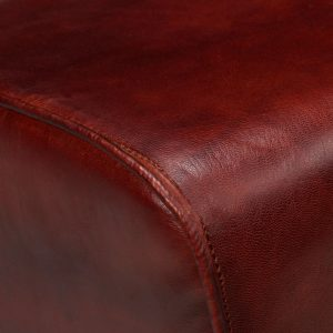 Bench Genuine Leather Brown 40x30x45 cm