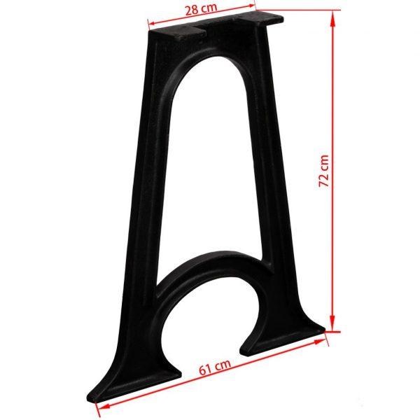 Dining Table Legs 2 pcs with Arched Base A-Frame Cast Iron