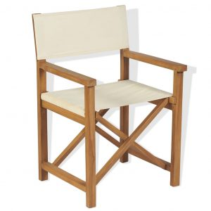 vidaXL Folding Director's Chair Solid Teak Wood