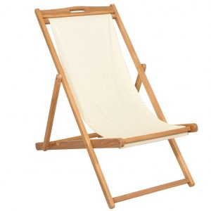 vidaXL Deck Chair Teak 56x105x96 cm Cream