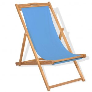 vidaXL Deck Chair Teak 56x105x96 cm Blue