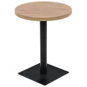 vidaXL Bistro Table MDF and Steel Round 60×75 cm Oak Colour
