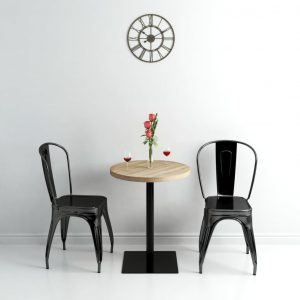 Bistro Table MDF and Steel Round 60×75 cm Oak Colour