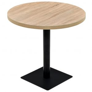 vidaXL Bistro Table MDF and Steel Round 80×75 cm Oak Colour
