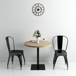 Bistro Table MDF and Steel Round 80×75 cm Oak Colour