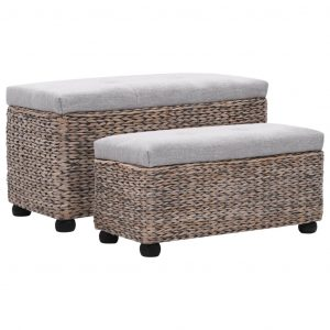 vidaXL Bench Set 2 Pieces Seagrass Grey