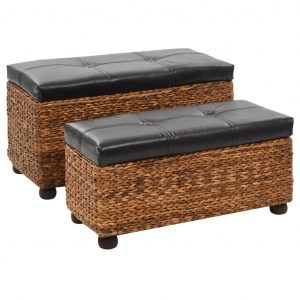 vidaXL Bench Set 2 Pieces Seagrass Brown