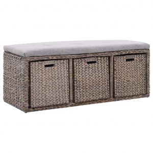 vidaXL Bench with 3 Baskets Seagrass 105x40x42 cm Grey