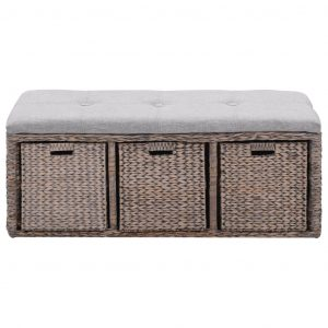 Bench with 3 Baskets Seagrass 105x40x42 cm Grey
