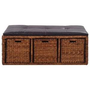 Bench with 3 Baskets Seagrass 105x40x42 cm Brown