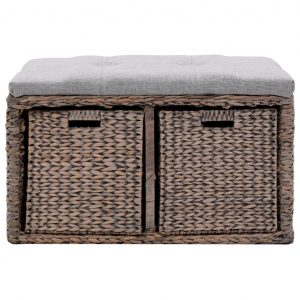 Bench with 2 Baskets Seagrass 71x40x42 cm Grey