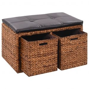 vidaXL Bench with 2 Baskets Seagrass 71x40x42 cm Brown
