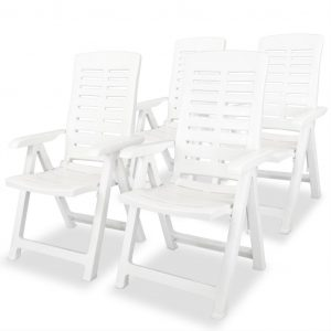 vidaXL Reclining Garden Chairs 4 pcs Plastic White