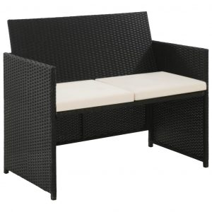 vidaXL 2 Seater Garden Sofa with Cushions Black Poly Rattan