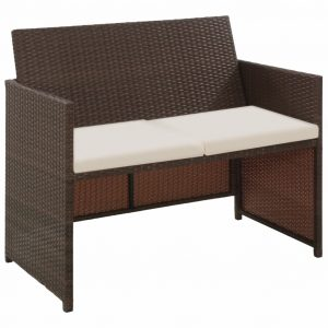 vidaXL 2 Seater Garden Sofa with Cushions Brown Poly Rattan