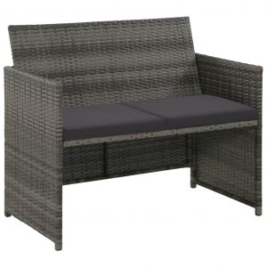 vidaXL 2 Seater Garden Sofa with Cushions Grey Poly Rattan